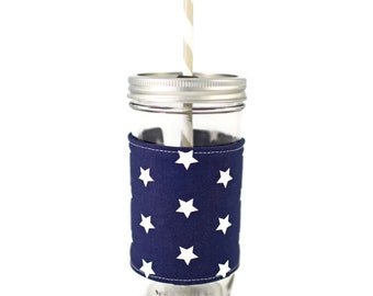 Personalized Mason Jar Tumbler, Personalized Tumbler, Navy Stars