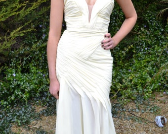 Vintage inspired prom dress custom 'Elle' strapless sweetheart plunging backless evening gown