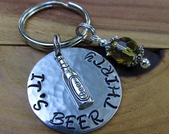 It's Beer Thirty Aluminum Metal Stamped Key Ring