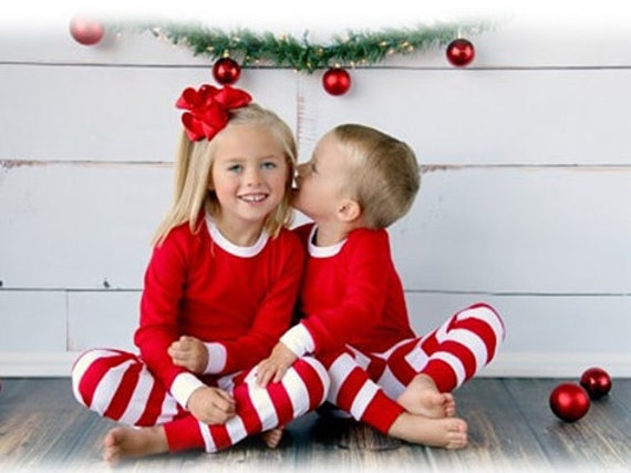 PREORDER Red and White Christmas Pajamas, KIDS Christmas Pajama Blanks, Blank Or Personalized