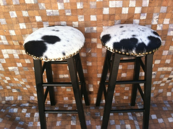 Cowhide Barstools Vintage Black White Hairhide Leather Bar