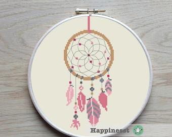 cross stitch pattern dreamcatcher, modern cross stitch, native american, pink, baby girl, PDF pattern ** instant download**