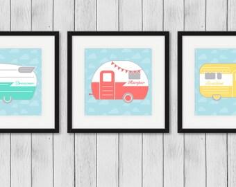 Camper Wall Art | Set of 3 Campers | Home Decor | Art Prints | Camper Illustrations