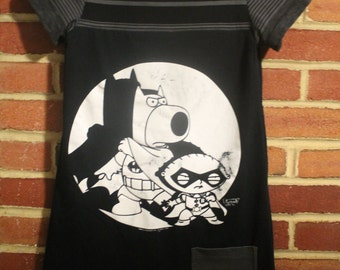Upcycled Family Guy Batman & Robin Dress, Girl's size 8