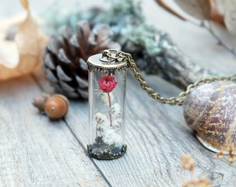 terrarium necklace, botanical jewelry, bridesmaid gift set, real flower glass bottle, bridal gift, daisy pendant, real flower terrarium