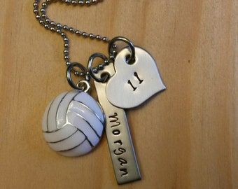 Hand Stamped Personalized Volleyball Necklace - Girls Volleyball gifts - Volleyball Team Gift