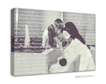 Lyric on Canvas, Anniversary Gift, Custom Wedding Canvas Print,  Love Story, Poem, Lyrics, Vows, Wedding Song,