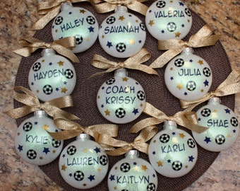 Soccer Personalized Ornament; Soccer Coach Ornament; Personalized Girl Soccer Christmas Ornament; Soccer Team Christmas Ornament