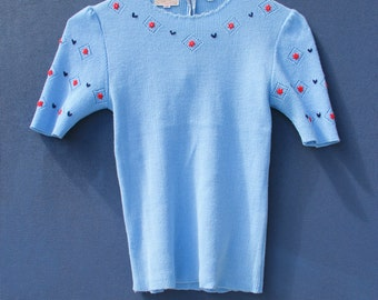 50's Embroidered Short Sleeved Sweater