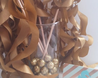 Paper Wand Streamers-Metallic Gold Party Favors- Wedding Favors- Wedding Send Off- Birthday Party Gifts- Party Wands-Set of 20