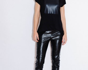 unique T-shirt/ Leather top/ Modern top/ Black top/ Unique top/ faux leather top