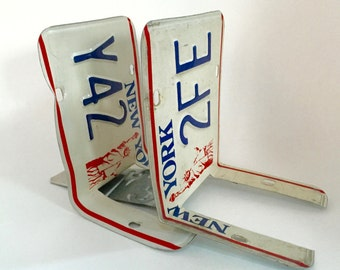 Industrial New York license plate bookends - handmade - plates from the 1990s