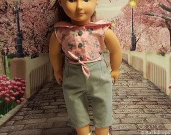 """Historical 18 inch doll clothes """"Poodle Pink"""" will fit American Girl® 1950's pedal pusher pants and sleeveless top pink poodles 50's O2"""