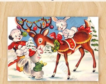 Christmas Reindeer Vintage Digital Image Download Greeting Card