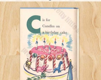 C is for Candle on a Birthday Cake Vintage Digital Download