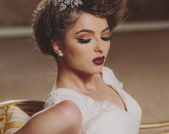 Crochet pearl stud earrings, earrings crochet sterling silver, bridal jewelry