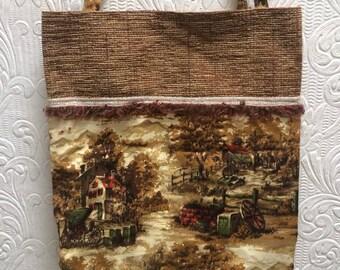 Wonderful Hand Made Vintage Barkcloth Purse or Bag