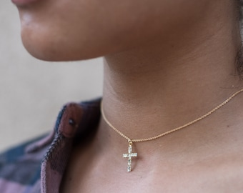 Gold Cross Choker Necklace, Dainty Collar Layering Necklace, Religious Necklace, Friendship Necklace, Bridesmaid Gift, Bridal Jewelry