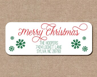 Personalized Address Labels Stickers 2.625 x 1 Merry Christmas rectangular return address label