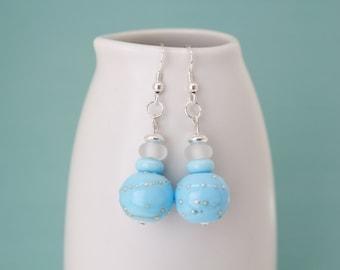 Earrings, Light Sea Blue Earrings, Dangle Earrings, Lampwork Bead Earrings, Sterling Silver Earrings, Blue Glass Lampwork Beads, OOAK