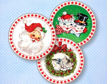 """Retro Christmas printable cupcake topper digital collage sheet 2 inch circles DIY Party Props 2.25"""" 2.5"""" round download 2"""" bottle cap images"""
