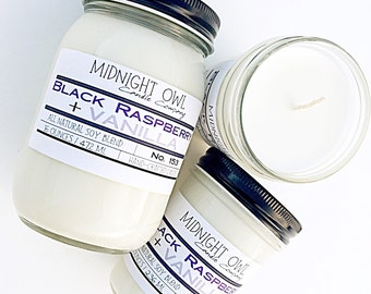 Black Raspberry Vanilla Mason Jar Candle Candle 8oz or 16oz - soy candle, jar candle, scented candle - Midnight Owl Candle Co.