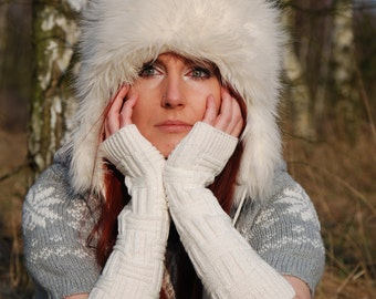 Very Long Arm Warmrs Knit Fingerless Gloves White Warm Mittens Sleeves Arm Cuffs Yoga Ski Woodland Hand Warmers Wrist Warmers Winter