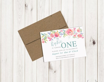 Watercolor Floral First Birthday Invite (printable)