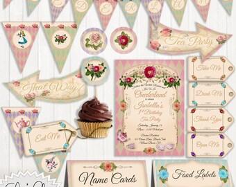 ONEDERLAND PARTY PACK - Onederland Birthday Invitation, 1st Birthday Tea Party, Wonderland Wedding,  Alice in Wonderland, Tea Party