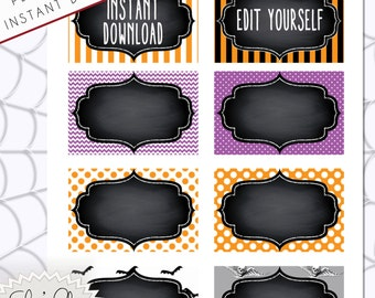 HALLOWEEN FOOD LABELS - Halloween Party Food or Drink Labels - 8 Labels per page PdF and JpG  Versions.  Instant Download