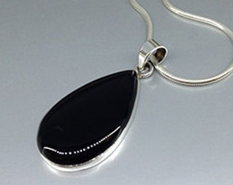 Statement Onyx Pendant with Sterling silver - necklace - gift idea - black cabochon drop pendant - natural gemstone - statement