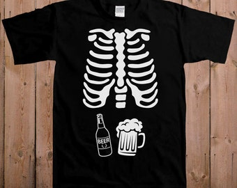 Beer Skeleton Ribcage T Shirt Halloween Costume Shirt Pregnancy Halloween Costume Expectant Father Halloween Pregnancy Announcement Mens T36