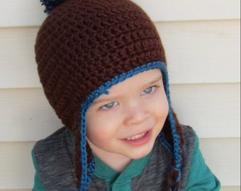Pompom Crocheted Boy/Girl Hat- Ready to Ship!!