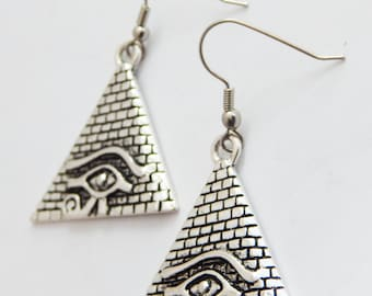 Egyptian Earrings Eye of Ra Eye of Horus Pyramid Silver African Earrings Egyptain Jewelry Dangle Jewelry Triangle Earrings