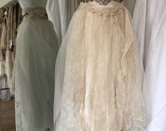 Unique statement wedding dress,rich embellished wedding dress,ripped tulle,bohemian couture,rhinestone,handmade,empire style belt,wow factor