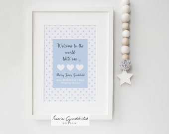 personalised baby print, newborn print, new baby print, nursery art, baby boy print, new baby gift, baby shower gift, gifts for babies, baby