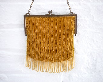 Beaded Flapper bag purse Gold Honey Yellow