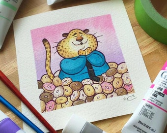 Officer Benjamin Clawhauser Zootopia Watercolor Print by Michelle Coffee