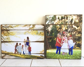 Mother's Day Gift - Wood photo- Family Portrait on wood - 5 Year Wood Anniversary Gift! Unique, Vintage and Distressed Photos - Farmhouse
