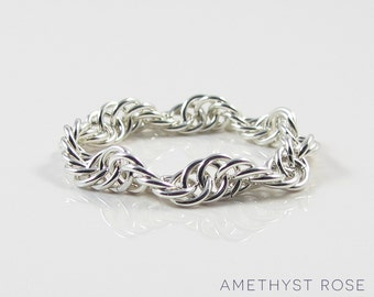 Woven wave ~ Sterling Silver Chain Maille Ring ~ Flexible Ring ~ Chainmail Jewellery