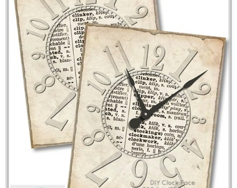 Printable Clock Face, Dictionary Paper Clock Face, Craft Supplies, Decoupage, Instant Download, Digital Clock Face