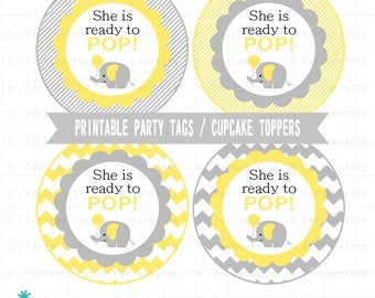 Yellow Elephant Baby Shower Tags, Printable Stickers, Cupcake Toppers Party Circle Tags, Avery Paper, Instant Download -D683 BBEY1