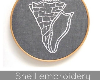PDF shell embroidery pattern, conch shell pattern, hand embroidery pattern, DIY needlecraft, shell embroidery pattern, DIY shell pattern