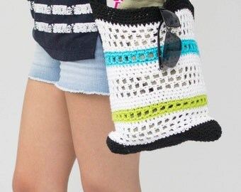 Hook, crochet, cotton bag, beach, shopping, grocery, small size, accessories, summer. Ready to ship!
