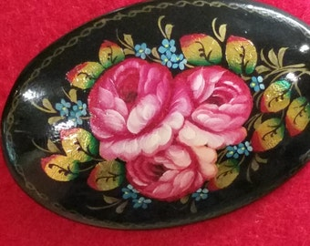 Vintage Russian Lacquer Hand Painted Flower Brooch Pin