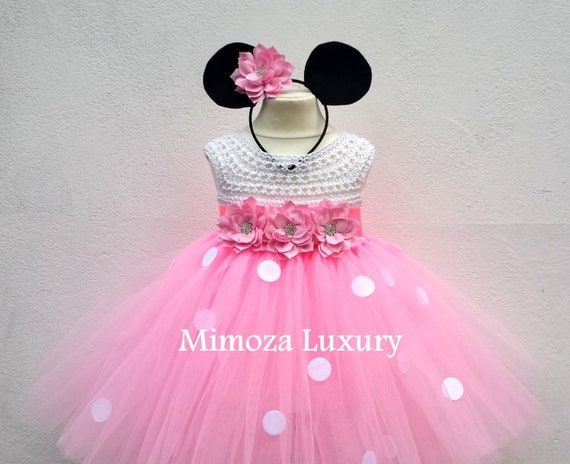 Minnie mouse dress minnie mouse birthday dress Flower girl dress pink  tutu dress mickey mouse princess dress pink crochet top tulle dress