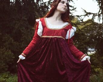 ¡10% de descuento! Por encargo de renacimiento italiano Vestido de terciopelo brocado y panné - histórico Traje Cosplay Borgia repromulgación del siglo 15