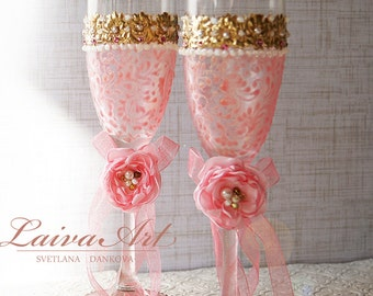 Pink and Gold Wedding Champagne Glasses Wedding Champagne Flutes Gold and Pink Toasting Flutes Toasting Glasses