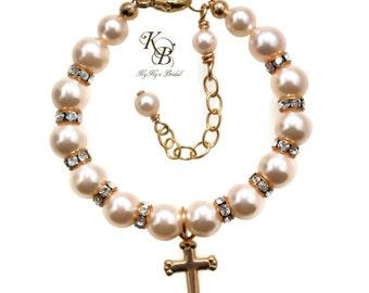 Gold Baptism, 14k Gold Filled Bracelet, Gold Baby Bracelet, Christening Bracelet, First Communion Bracelet, Baptism Gifts, Baby Gift
