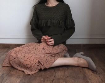 crepe chiffon abstract floral print skirt